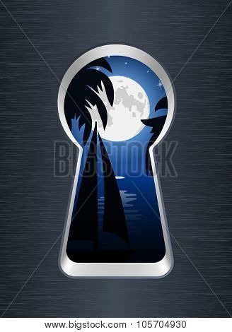 Night On The Sea And Palm Trees Are Seen Through The Keyhole. Vector Illustration