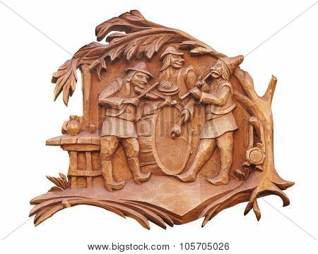 Old Brown Wooden Bass-relief With Musicians Isolated Over White