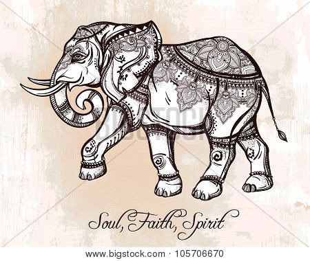 Hand drawn ornate elephant illustration.