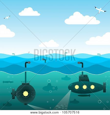 Submarines in the open sea.