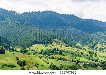 Beautiful mountain landscape in Romania at Vatra Dornei