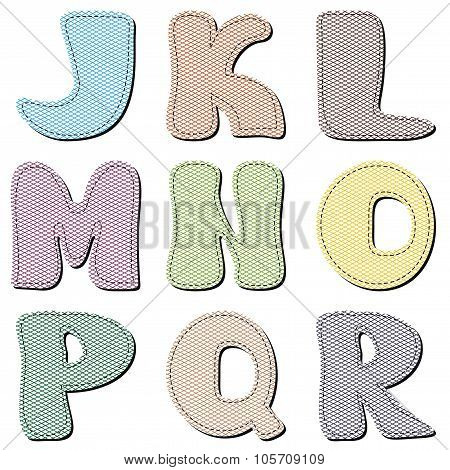 scrapbook alphabet on white