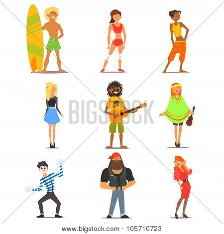 People of Different Lifestyle and Interests. Vector Flat Illustration Set