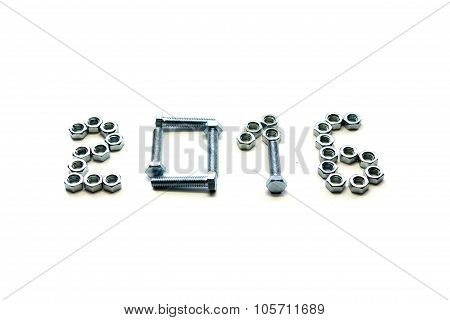 bolt and nut isolated  new year 2016