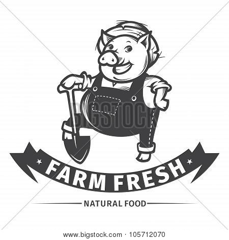 Happy Farmer Pig With Shovel