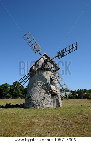 Sweden, Old And Historical Windmill Of Faro