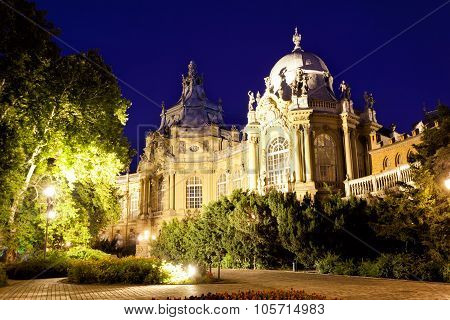 Museum Of Hungarian Agriculture At Night, Budapest.