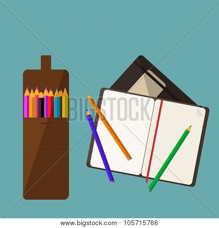 Colored Pencil Set And A Sketch Book Flat Icon
