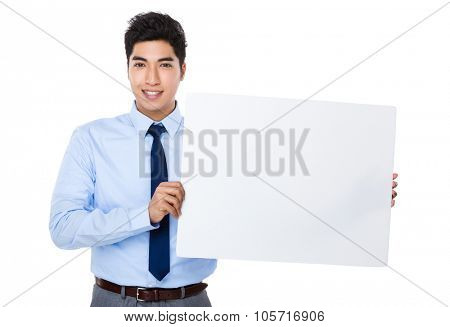 Asian Young Businessman show with the white banner