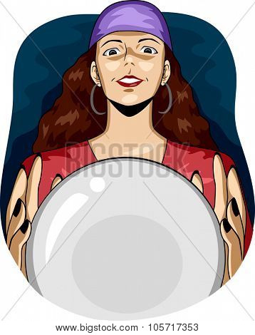 Illustration of a Female Gypsy Using a Crystal Ball to See the Future