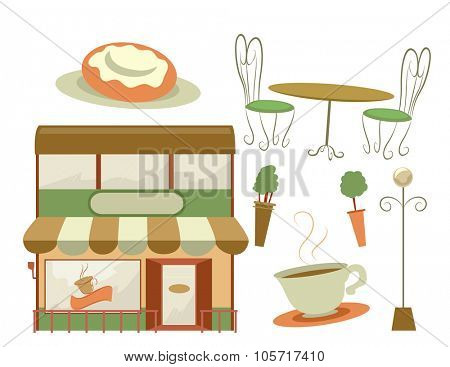 Illustration Featuring a Coffee Shop and Different Furniture Usually Found at a Cafe