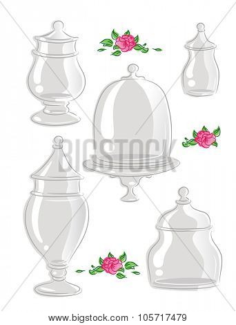 Illustration Featuring Glass Containers with Different Shapes