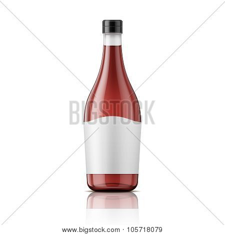 Wine vinegar bottle with cap and label.