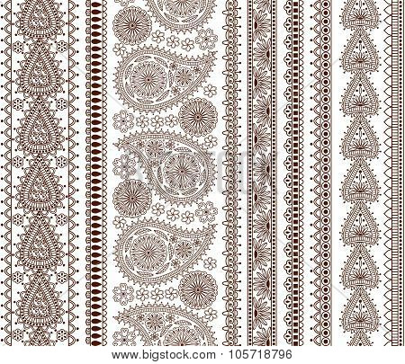 Set of Ornamental Seamless Borders in indian style. Good for décor, henna tattoo, etc.