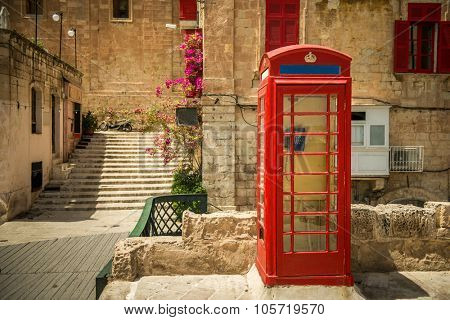 phone booth in the capital of Malta,  Valletta