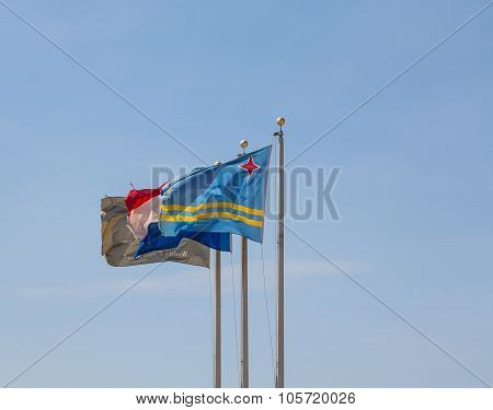 Flags Of Aruba And Netherlands