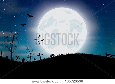 Halloween background with pumkin, bats and big moon