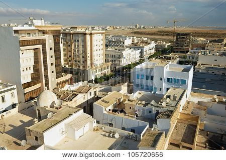 View to the buildings of Sfax residential area in Sfax, Tunisia.