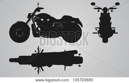 Front, top and side chopper projection.