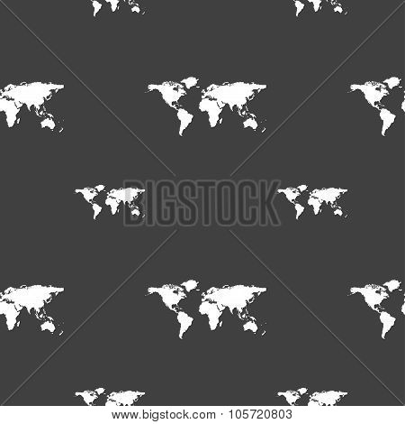 Globe Sign Icon. World Map Geography Symbol. Seamless Pattern On A Gray Background. Vector