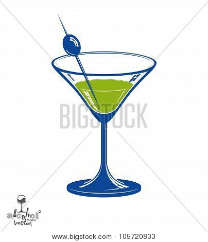 Realistic 3D Martini Glass With Olive Berry, Beverage Theme Illustration. Stylized Artistic Lounge O