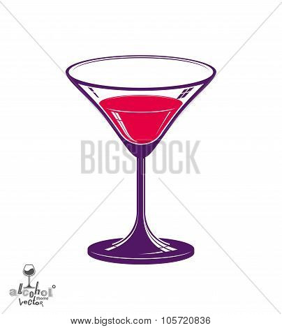 Realistic 3D Martini Glass, Alcohol Theme Illustration. Stylized Artistic Lounge Object, Relaxation