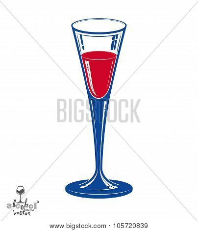 Classic Vector 3D Champagne Goblet, Alcohol Beverage Theme Illustration. Lifestyle Graphic Realistic