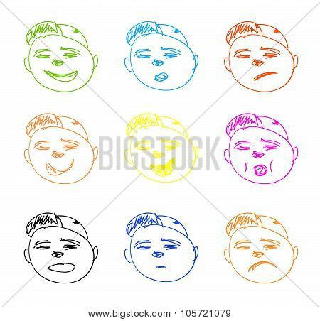 Vector Hand Drawn Faces