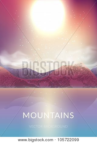 Majestic Landscape With Sunrise In The Mountains