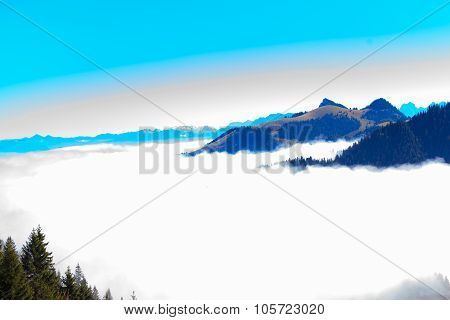 Panoramic View In The Kaiser Mountains In Tyrol In Austria.