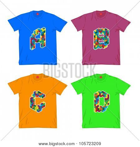 t-shirt design with color letters. isolated on white background