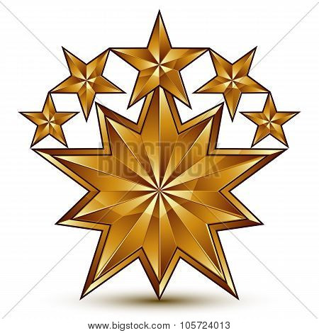 3D Vector Classic Royal Symbol, Sophisticated Golden Round Emblem With 5 Stars Isolated On White Bac