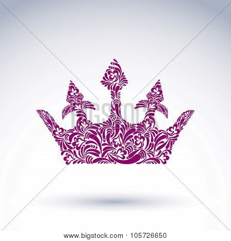 Flower-patterned Vector Crown, Art Royal Symbol. King Coronet Filled With Abstract Natural Pattern,