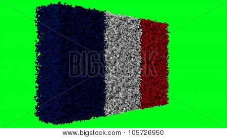 Flag of France, French Flag made from leaves