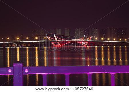 Bridge Night In Wuxi Jiansu In China