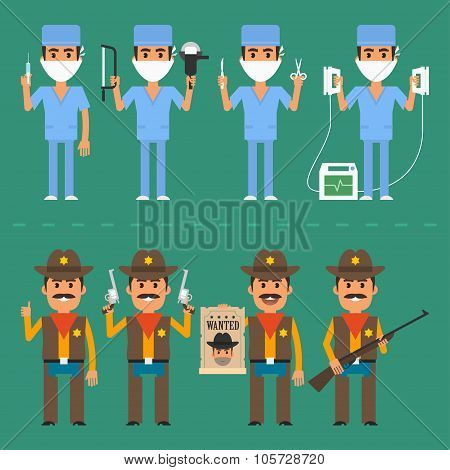 Sheriff and surgeon in various poses