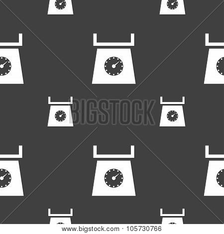 Kitchen Scales Icon Sign. Seamless Pattern On A Gray Background. Vector