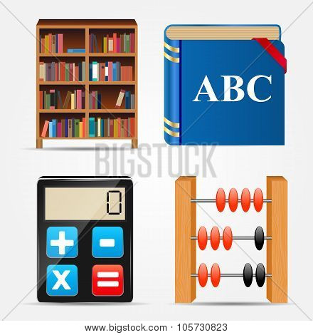 Bookcase, Notepad, Calculator, Abacus Icon Vector Illustration