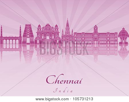 Chennai Skyline In Purple Radiant Orchid