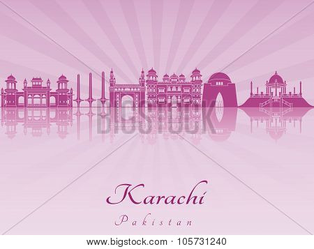 Karachi Skyline In Purple Radiant Orchid
