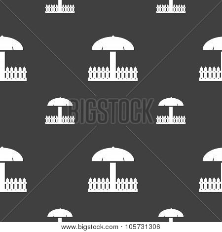 Sandbox Icon Sign. Seamless Pattern On A Gray Background. Vector