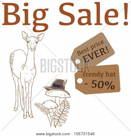Big Sale illustration with cute deer, trendy hat and labels