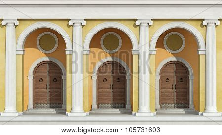 Classic Colonnade With Front Doors