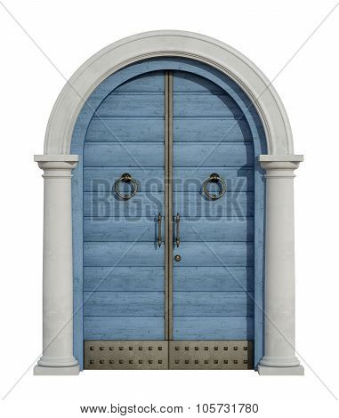 Old Front Door With Stone Portal On White