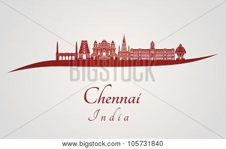 Chennai Skyline In Red