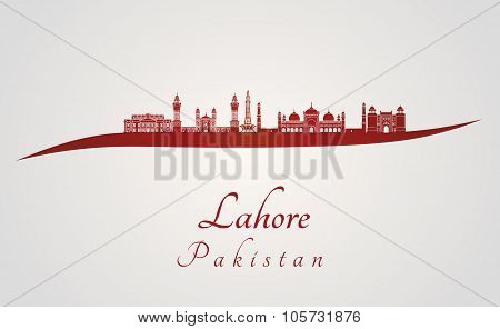 Lahore Skyline In Red