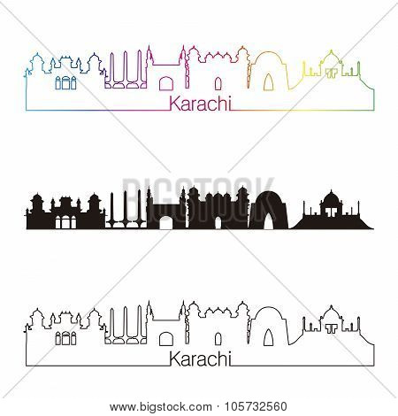 Karachi Skyline Linear Style With Rainbow
