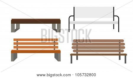 Outdoor Bench Icon Set Vector Illusrtarion