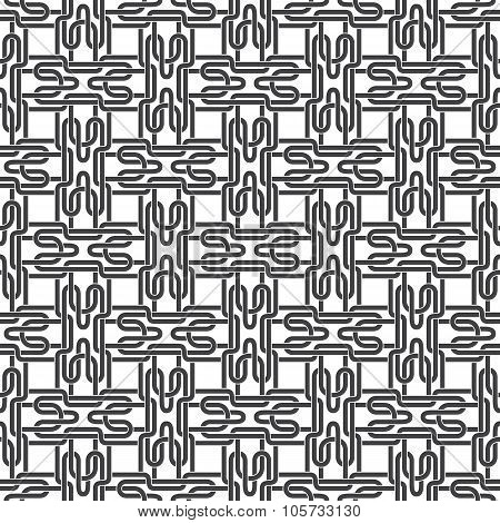Seamless pattern of intertwined H-shaped strips