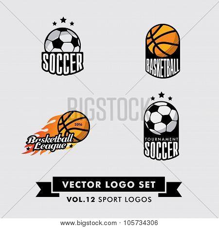 Retro Vintage Hipster Sport Vector Logo Set